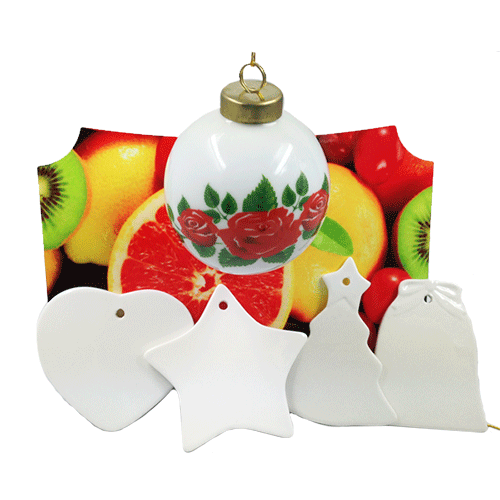 White Snow Ball Ornament With Metal Insert