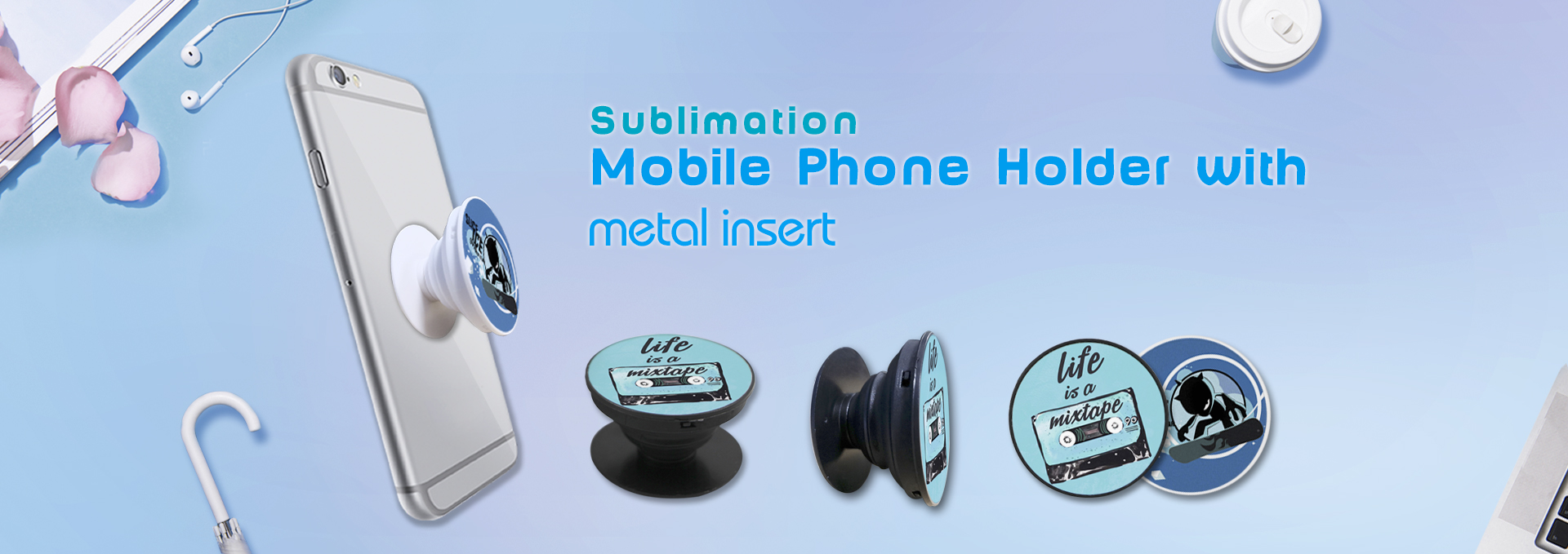 Sublimation Cell Phone Holder with metal insert