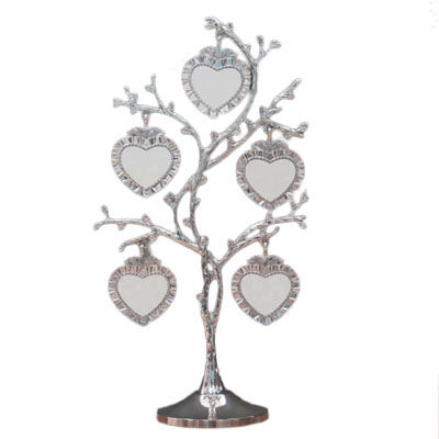 Silver Heart Family Tree Picture Frame