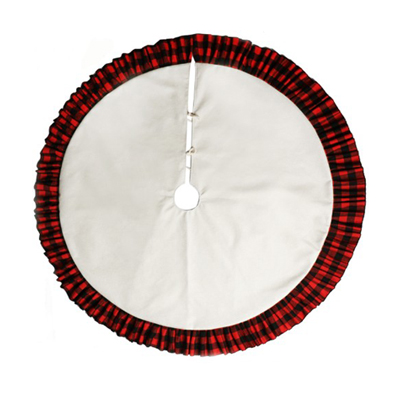 white blank Buffalo Plaid sublimation Christmas tree skirt