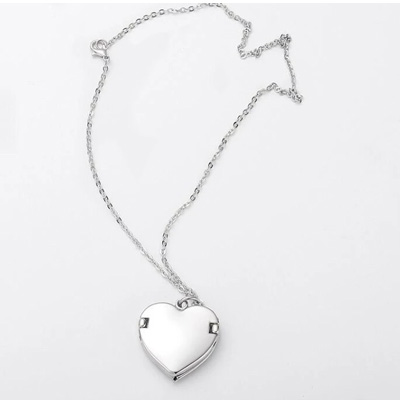 heart silver sublimation angel wing necklace locket pendant